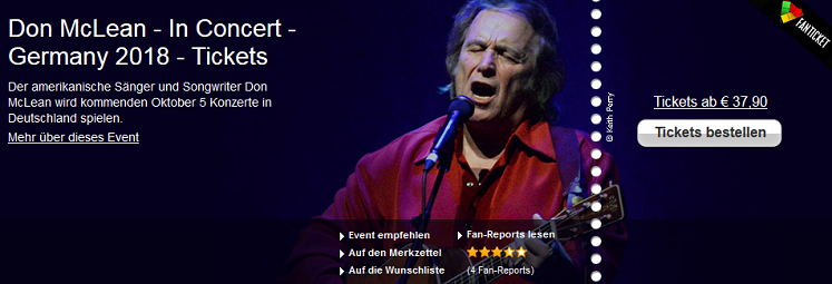 Don McLean Tour Dutschland 2018 - Tickets