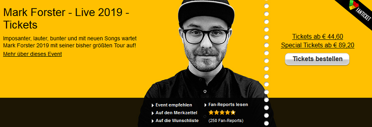 Mark Forster Tour 2019 - Tickets