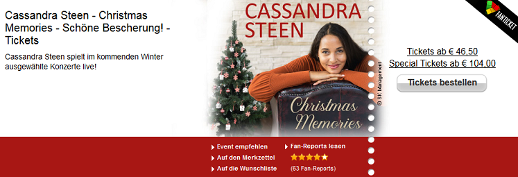 Cassandra Steen Tour - Tickets