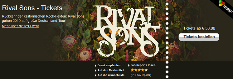 Rival Sons Tour - Tickets