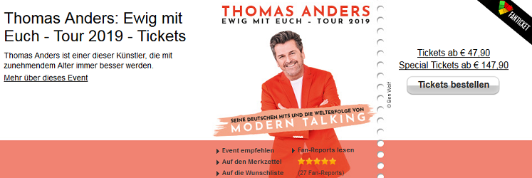 Thomas Anders Tour - Tickets