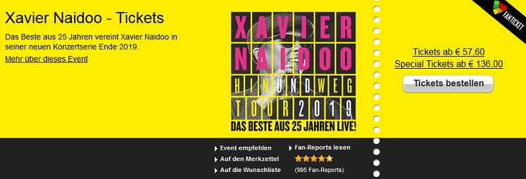 Xavier Naidoo Tour - Tickets